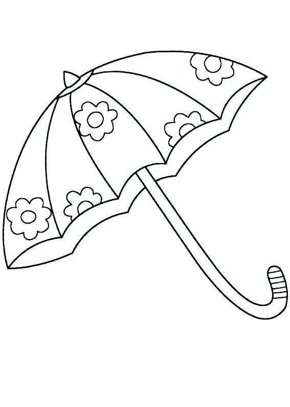 Flower Umbrella Coloring Page Warna Gambar