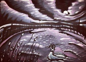 Lonely loon original painting for sale