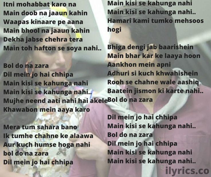 Bol Do Na Zara Lyrics Translation | Azhar