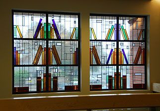 stained glass window designed with books on shelf - [Thanks to Pinterest user fazmax who previously pinned this to what is now my Lovely Glass 1 board before I subdivided it.]