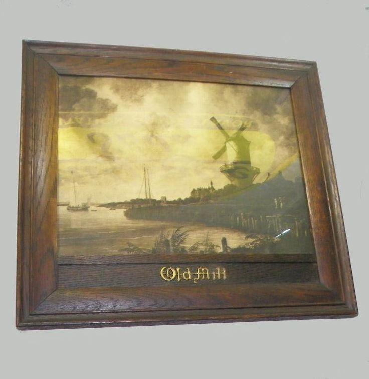 $275 Antique Old Mill Titled Print in Fancy Oak Frame - Dutch Windmill | #1791672706