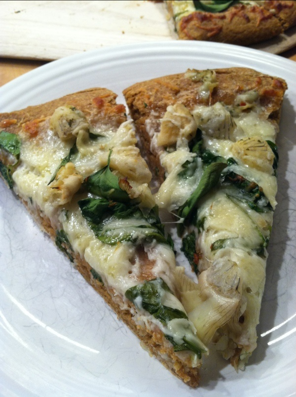 Spinach Artichoke Pizza on whole wheat sweet potato white bean crust