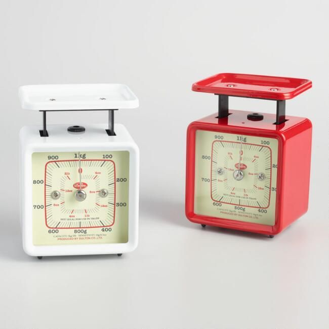 Mini Retro Kitchen Scale Set of 2 Handy for precision measurements and available in red and white colors, our exclusive mini food scales add a cute retro look to the kitchen counter. Afflink.