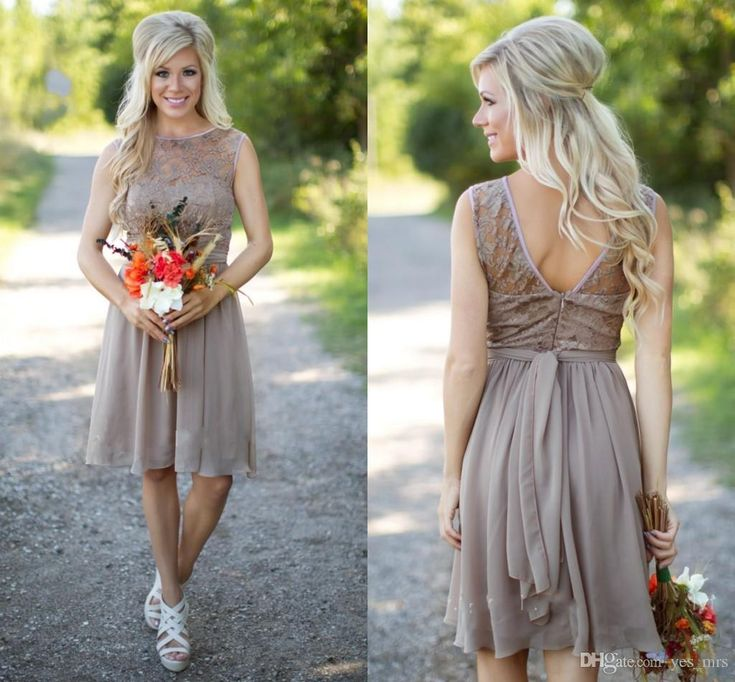 2016 Hot Champagne Country Style Bridesmaid Dresses Jewel Neck Western Wedding Guest Wear Lace Chiffon Knee Length Party Maid of Honor Gowns Online with $82.42/Piece on Yes_mrs's Store | DHgate.com