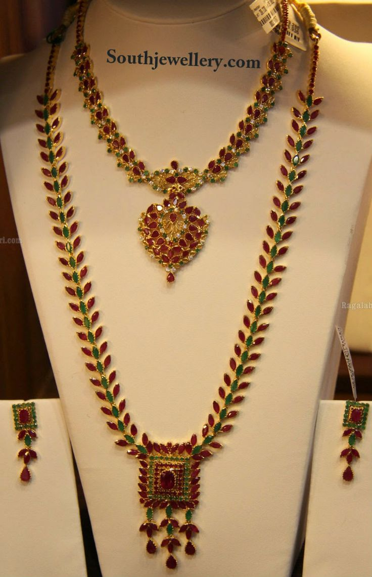 ruby emerald necklace set