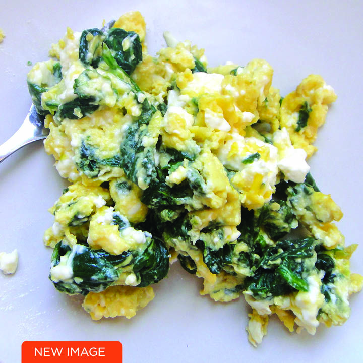 Low carb breakfast, Scrambled Eggs with Feta and Spinach - so tasty and filling!
