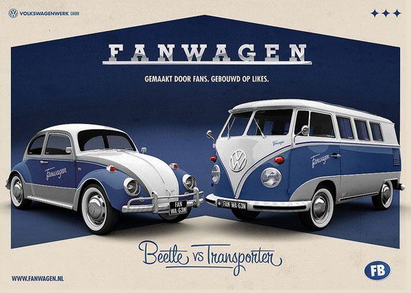 VW Fanwagen camper van vs, Beetle