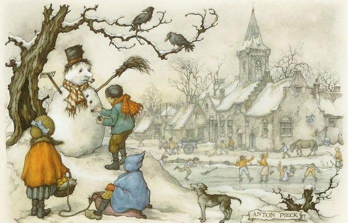 The Snowman by Anton Pieck (1895-1987, Dutch illustrator)
