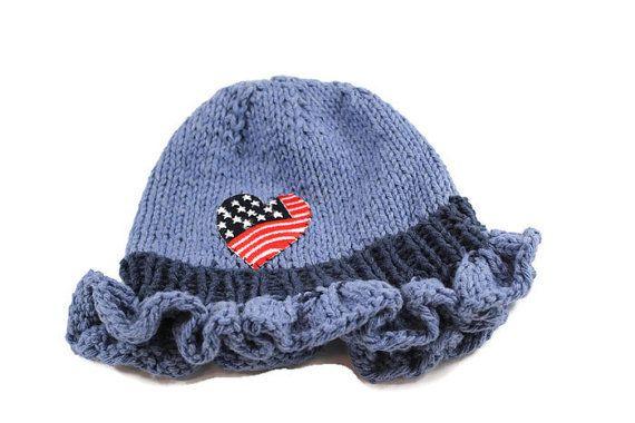 Knitted Toddler Girl Cotton Hat Denim Blue Spring by LeannaCreates