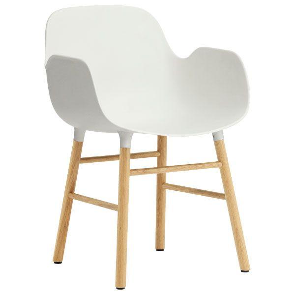Form armchair, white/oak