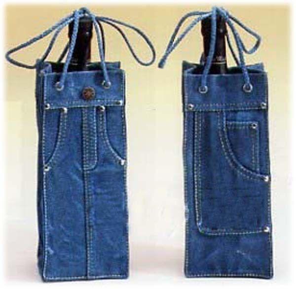 """""""Sac à vin""""... pratique et sympa à offrir à ceux qui nous refilent leurs vieux jeans!!!                                                                                                                                                                                 Plus"""