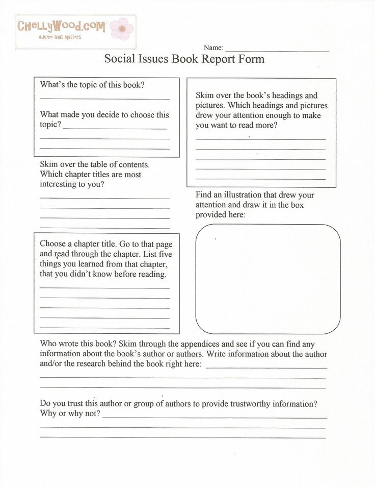 book report cover page template