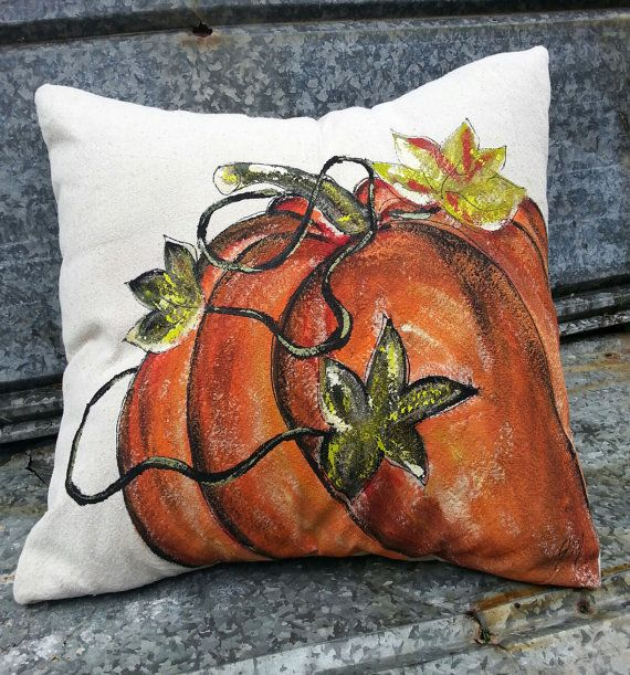 Pillow Cover Fall Pumpkin Handpainted Halloween by SippingIcedTea
