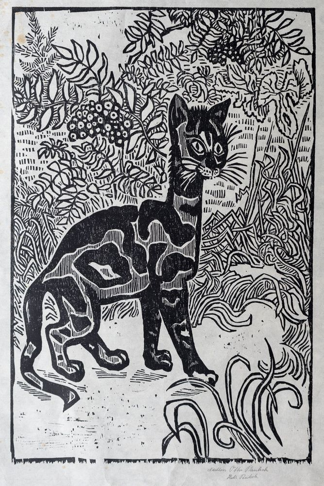 """Otto Pankok, Holzschnitt """"Katze I, JUNGE """", sehr selten, 63cm x 96cm , RIESIG!"""
