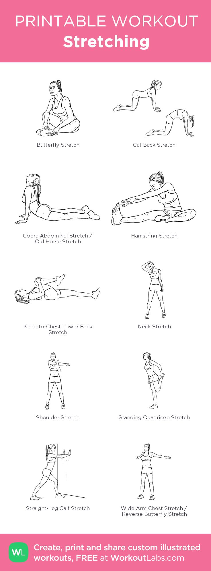 Stretching : my visual workout created at WorkoutLabs.com • Click through to customize and download as a FREE PDF! #customworkout
