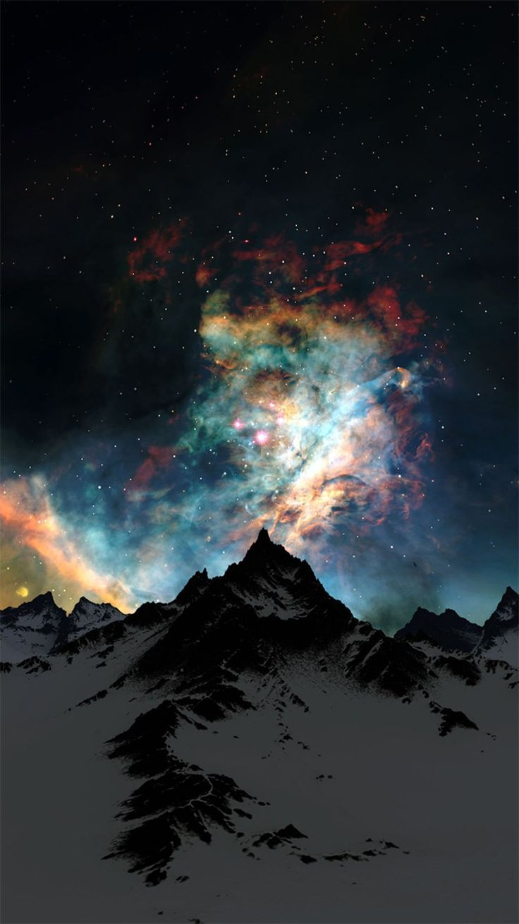 Nebula Over Mountain Abstract Space iPhone 6 Wallpaper
