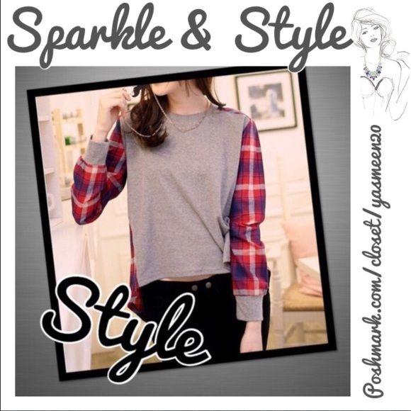 PLAID SHIRT Stylish plaid and grey long sleeve top. Very comfortable! Tops