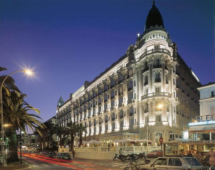 Carlton Hotel Cannes at night, France http://stylefile.julesb.co.uk/2012/05/11/b-adventurous-cannes-film-the-french-riviera/#.U3Nr3XZjHes