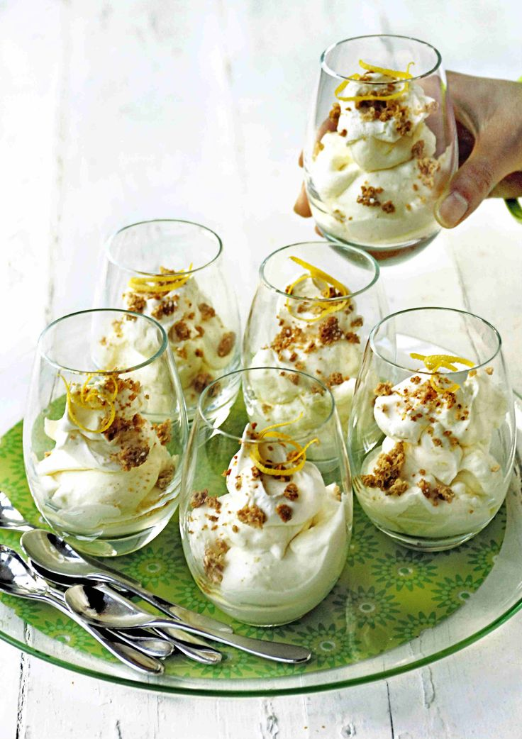 Limoncello syllabub with crushed amaretti                                                                                                                                                                                 More