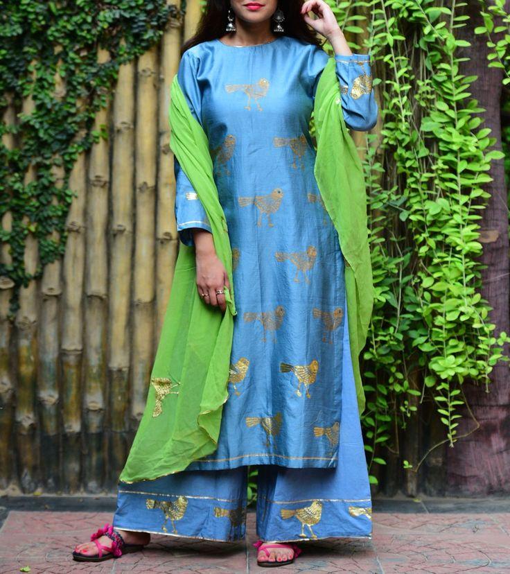 Blue Chanderi Foil Printed, Sequined & Hand Embroidered Salwar Kameez with Dupatta