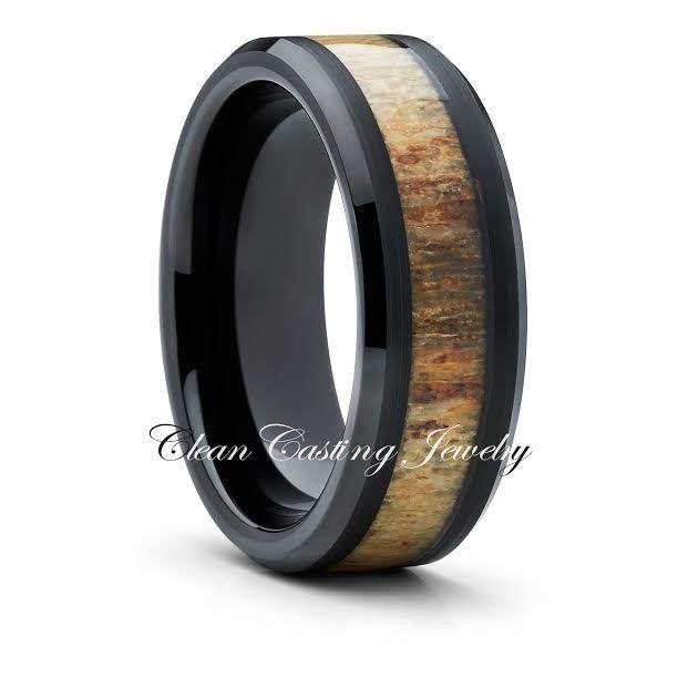 Deer Antler Tungsten Ring,Black Tungsten Band,8mm Tungsten Ring,Men & –…