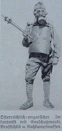 """WW1, 1916, """"Illustrierte Weltkriegschronik"""", Illustration of an Austro-Hungarian infantry soldier with gas mask and a breast shield."""