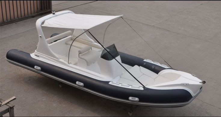This rigid inflatable boat (RIB) is well equipped and includes the following equipment: - Hypalon - (See colors in addition to White) - Italian Hydraulic Steering - Console, seat with cushion, and dri