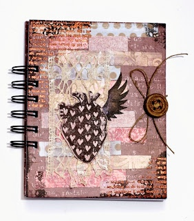 """Amazing #notebook by Dorotka with 3rd Eye #stamp #anatomical #heart (""""TES-003 heart in love: negativ"""") * #stamping #scrapbooking #diy #handmade"""