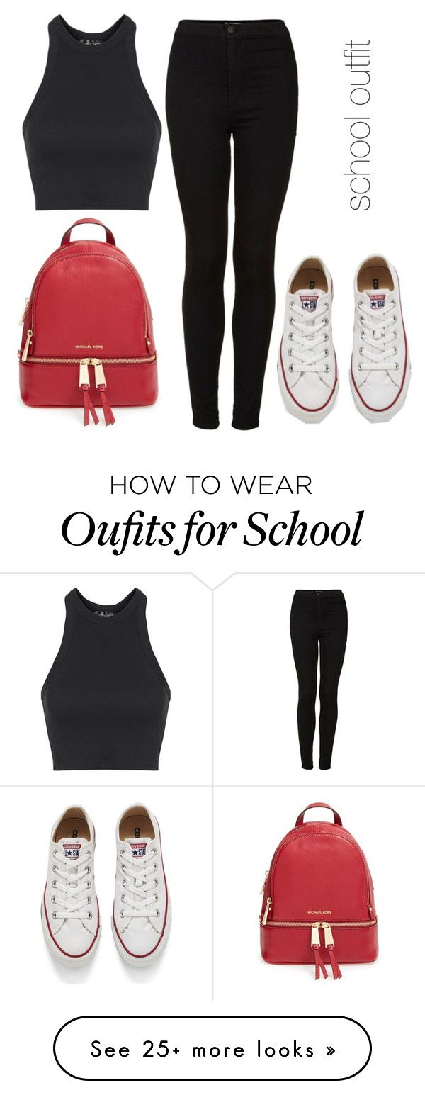 """""""school outfit"""" by kinderlili on Polyvore featuring Topshop, Converse, MICHAEL Michael Kors, women's clothing, women, female, woman, misses and juniors"""