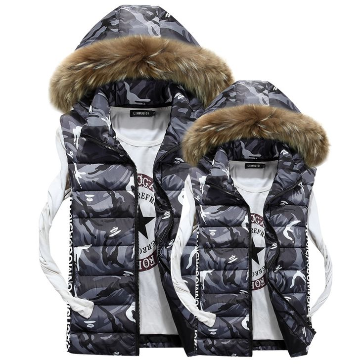 33.99$  Watch now - http://aidef.worlditems.win/all/product.php?id=32747286250 - Mens Autumn Lothing Fashion Casual Men's Camouflage Vest sleeveless jacket down jacket vest large fur collar winter gilet Men