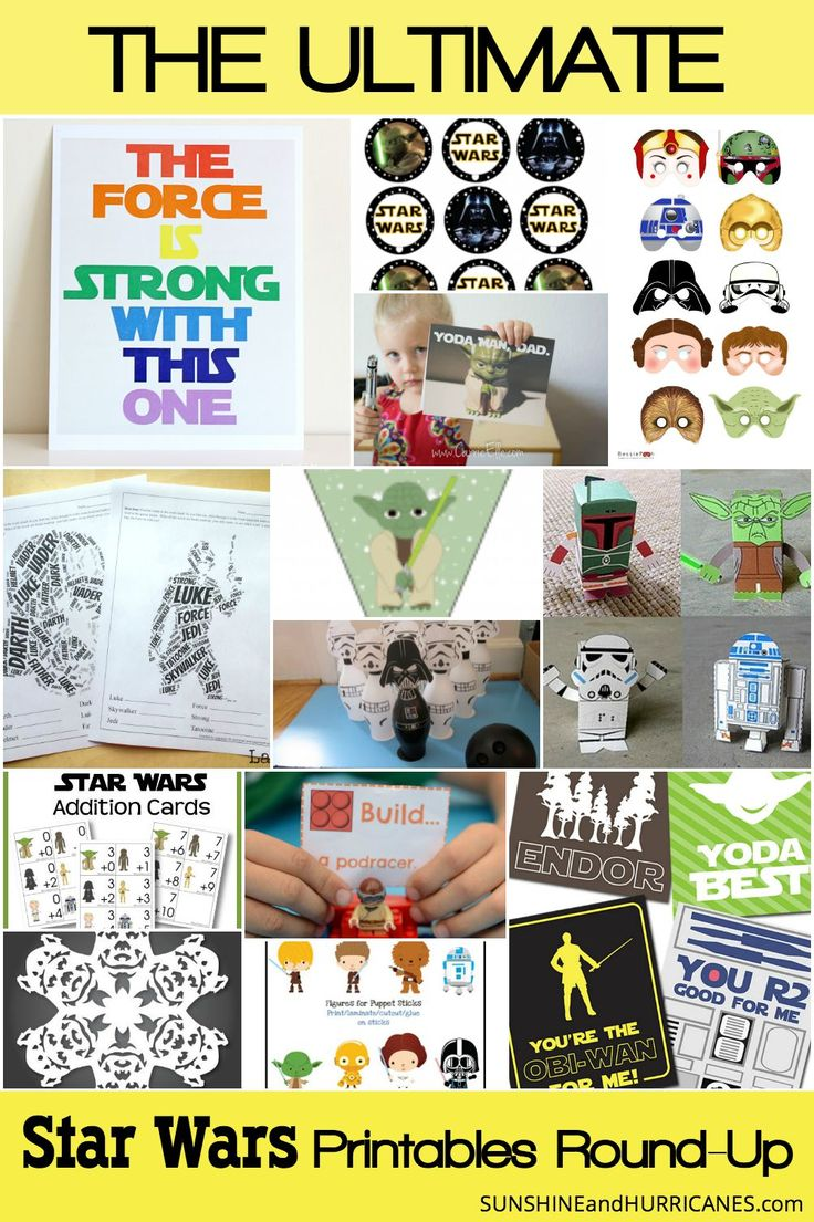 Ultimate Star Wars Printables Round-Up | Sunshine & Hurricanes --- There are a ton of great Star Wars printables here! Coloring pages, crafts, birthday party goodies, lunch box notes...