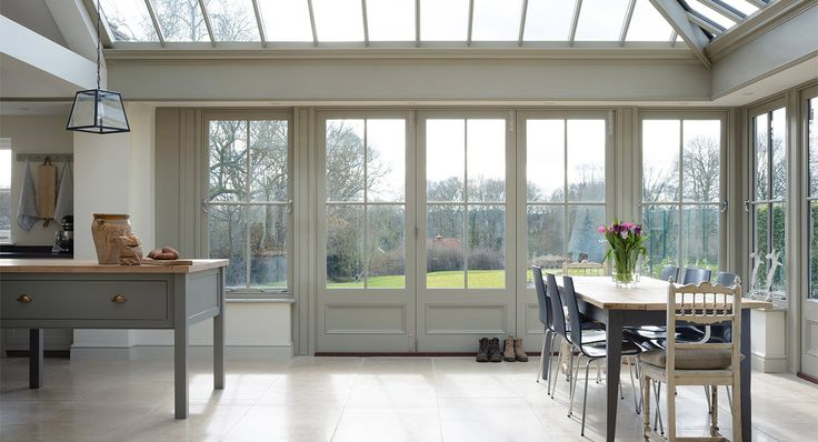 Orangery with lots of glazing. Good for a Northerly aspect.