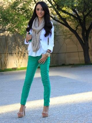 green jeans + white jacket