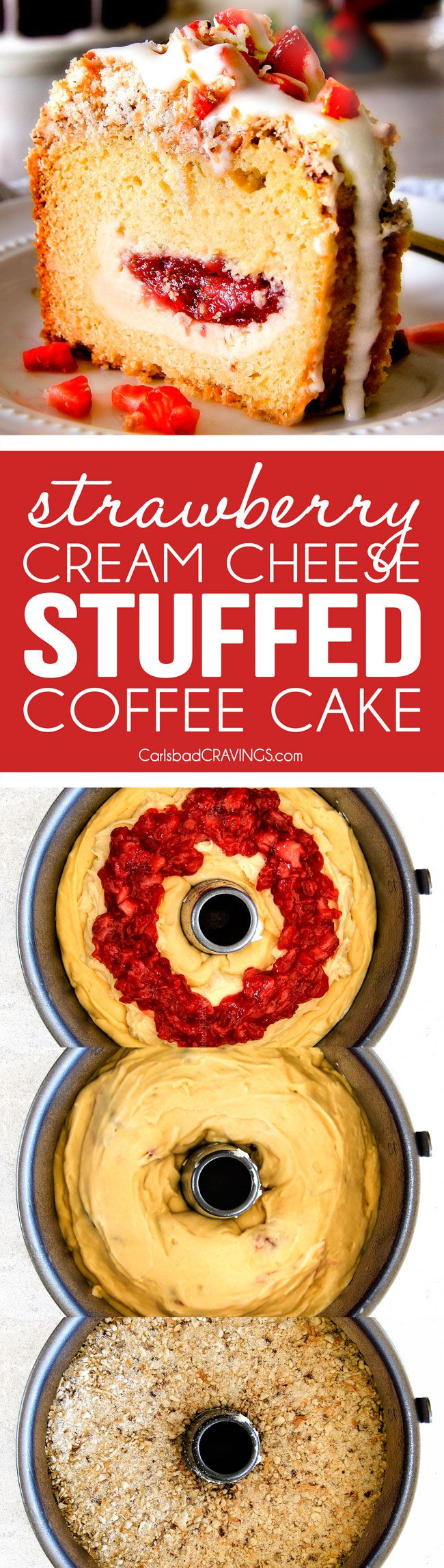 Strawberry Cream Cheese STUFFED Sour Cream Coffee Cake - this is the best strawberry coffee cake ever! the INCREDIBLY creamy cheesecake-like filling and strawberries all topped with Coconut Pecan Streusel and Lemon Drizzle is OUT OF THIS WORLD! I can't say enough good things about this coffee cake!