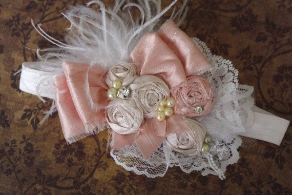 Vintage Inspired Headband, Shabby Hair Accessory, Flower Girl Hair Band, Pink Ivory White Headband, French Couture Hair Piece, Baby Girl