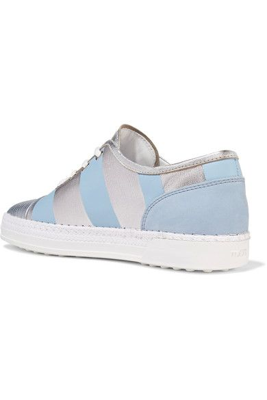 Tod's - Nubuck-trimmed Metallic Leather Sneakers - Light blue - IT