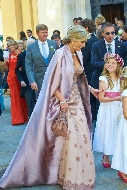 Queen Maxima at her brother's wedding, with bridesmaid princess Alexia,  8 June 2014.
