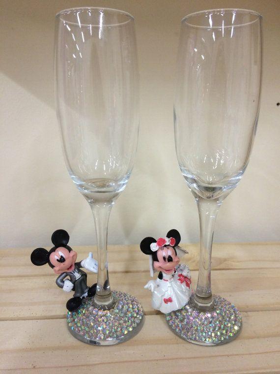 Bruid en bruidegom glazen, heer & mevrouw glazen Mickey Minnie bruiloft…