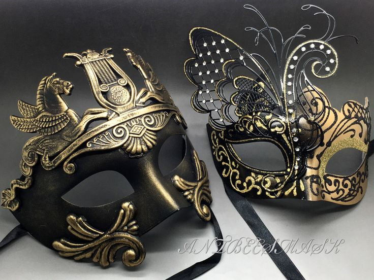 Couple Gold & Black Laser Cut Metal Butterfly and Rome Warrior Venetian Masquerade Party Mask
