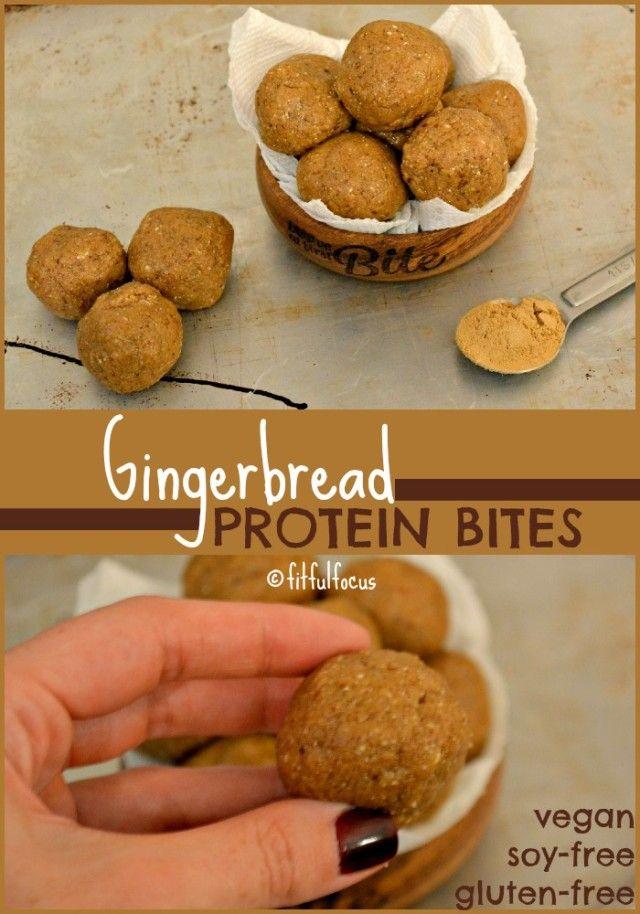 Gingerbread Protein Bites   @plantfusion    Vegan Energy Bites   Gluten Free   Healthy Recipes