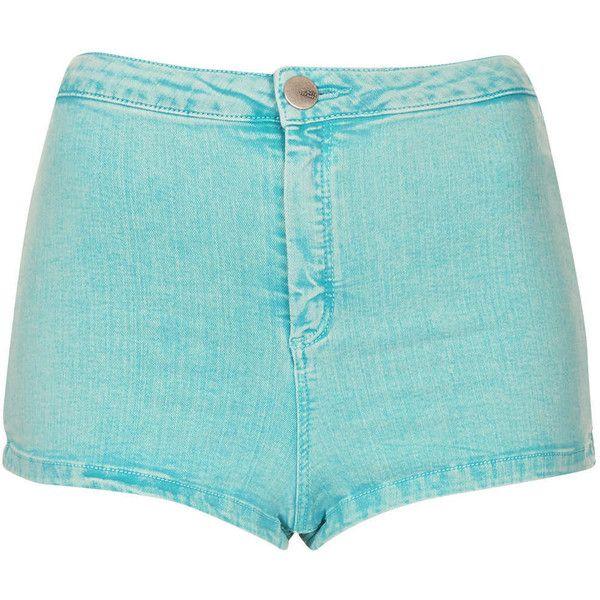 TOPSHOP MOTO Turquoise Acid Hotpants (€20) ❤ liked on Polyvore featuring shorts, bottoms, pants, short, turquoise, short shorts, topshop, high waisted short shorts, micro shorts and acid wash shorts