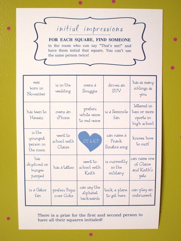 Wedding BINGO Game great ice breaker by KreativeCupcake on Etsy