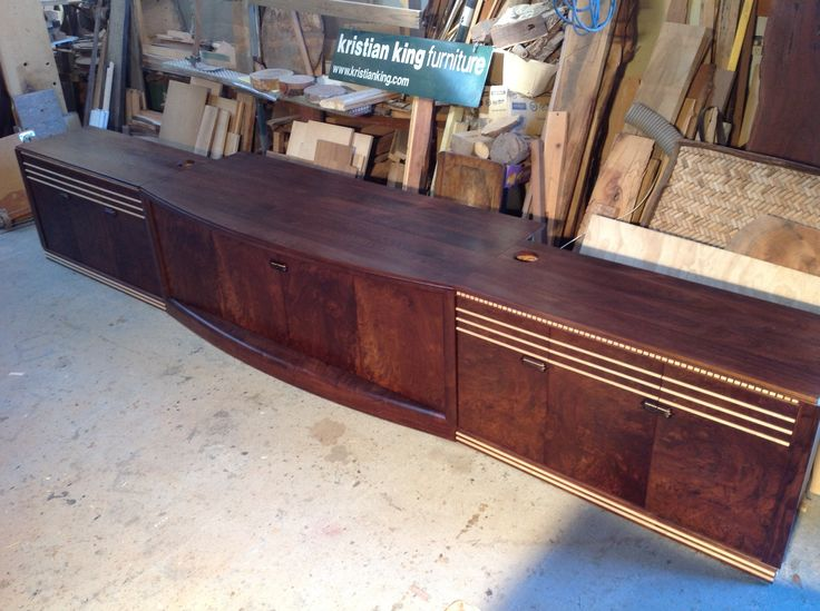 TV entertainment unit burl walnut and rock maple