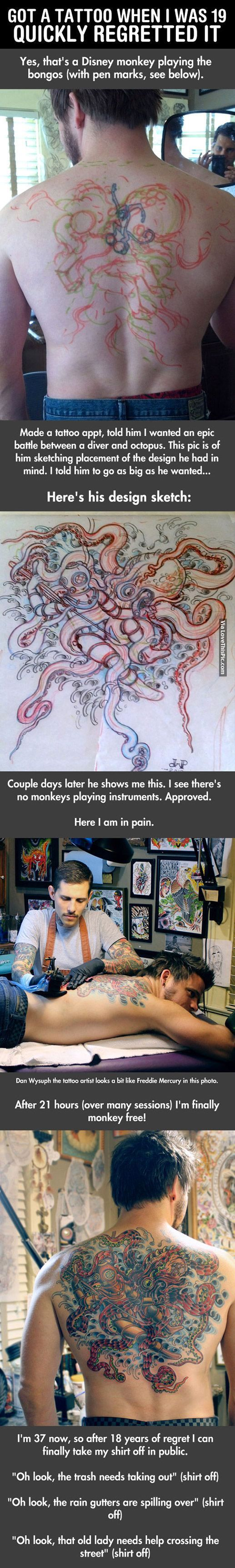 Guy Got A Tattoo When He Was 19 And Quickly Regretted It Pictures, Photos, and Images for Facebook, Tumblr, Pinterest, and Twitter