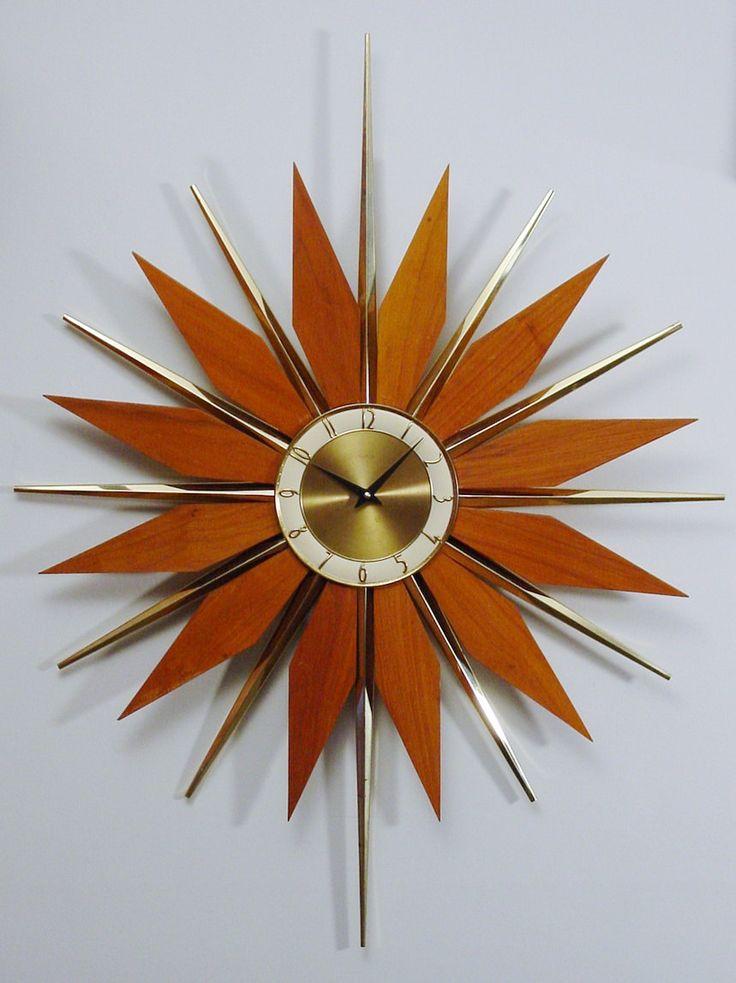 RESERVED currently for przybylak: Vintage Starburst Clock, Mid-Century  Modern Atomic Wall Clock, Large Sunburst Design