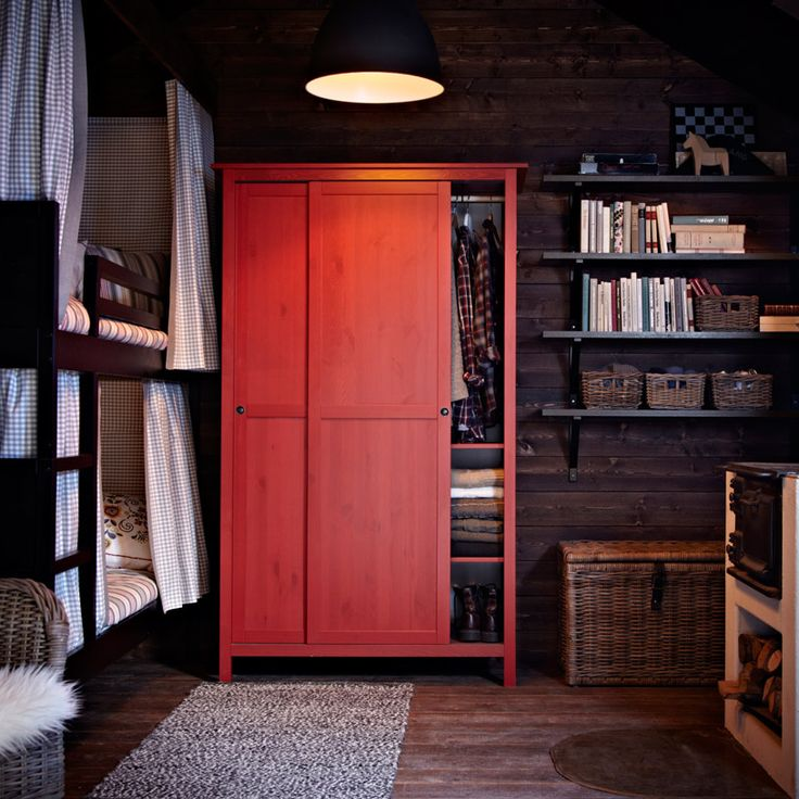 Nice style and mix of colors/textures, though a little dark overall... HEMNES red wardrobe with two sliding doors
