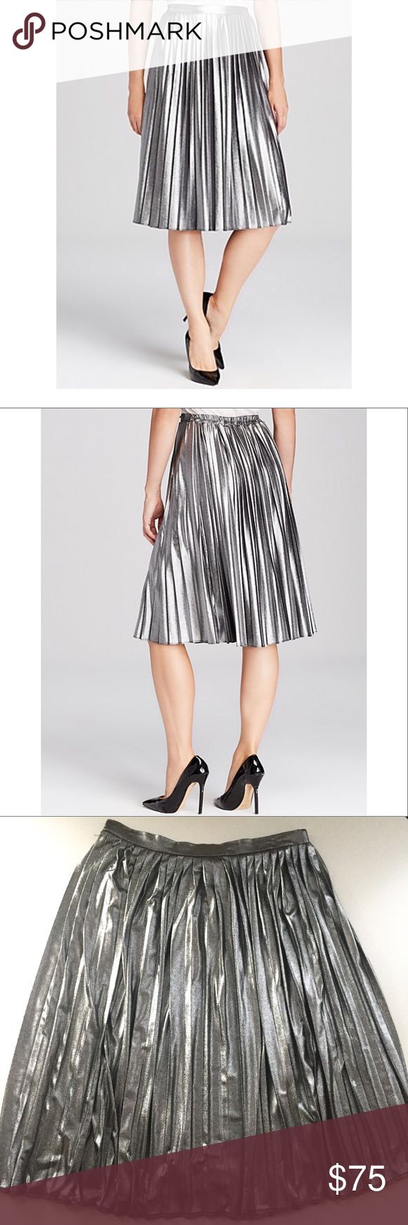 AQUA (Bloomingdale's Private Label) Midi Skirt Tap the metallic trend and rock the silhouette of the season in AQUA's pleated midi skirt. * Elasticized waist, pull on styling, pleated * Polyester * Dry clean * Made in USA Aqua Skirts Midi
