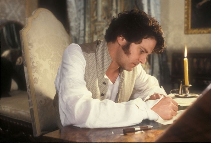 "Mr. Darcy (Colin Firth) writing ""the letter"" to Elizabeth Bennet (Jennifer Ehle) in Pride and Prejudice (1995). An email just wouldn't have had the same impact."