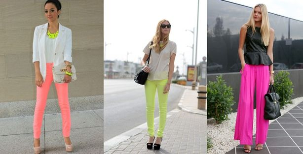 Love the peachy pants with white and neon yellow.  http://www.nextsoul.com/gallery/2012/09/Spring-Summer-2013-neon-outfits-09.jpg