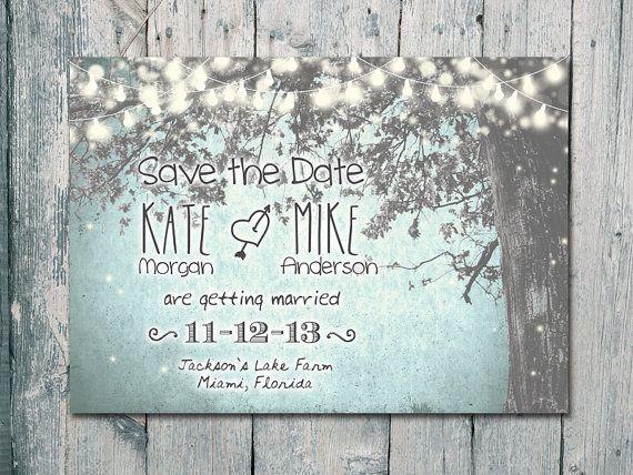 Digital - Printable Files - Winter - Romantic Garden and Night Light Wedding Save the Date Card - Wedding Stationery - ID210GB
